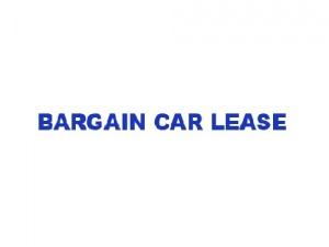 Bargain Car Lease